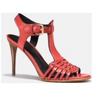 Coach New York Izzy T-Strap Heel Sandals Red 8.5B
